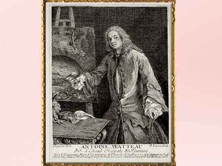 D'après un autoportrait de l'artiste à sa palette, Antoine Watteau, estampe, gravure de François-Bernard Lepicié, XVIIIe siècle apjc, période Rocaille.(Marsailly/Blogostelle)