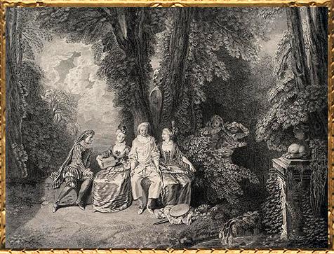 D'après Les Jaloux, Antoine Watteau, gravure de Scotin,XVIIIe siècle apjc, période Rocaille.(Marsailly/Blogostelle)