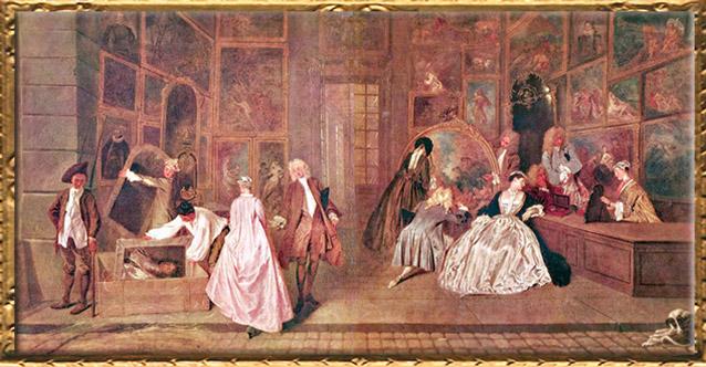 D'après L'Enseigne, dite L'Enseigne de Gersaint, Antoine Watteau, 1720, huile sur toile, XVIIIe siècle, château de Charlottenburg, Berlin. (Marsailly/Blogostelle)