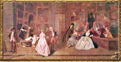 D'après L'Enseigne, dite L'Enseigne de Gersaint, Antoine Watteau, 1720, huile sur toile,XVIIIe siècle, château de Charlottenburg, Berlin. (Marsailly/Blogostelle)