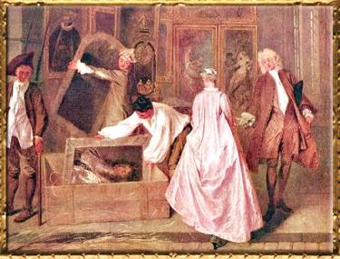D'après L'Enseigne, dite de Gersaint, détail, Antoine Watteau, 1720, huile sur toile, château de Charlottenburg, XVIIIe siècle, période Rocaille. (Marsailly/Blogostelle)