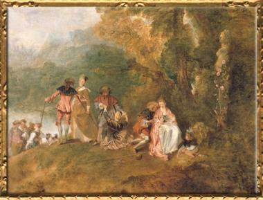 D'après Pèlerinage à l'île de Cythère, détail, Antoine Watteau, 1717, huile sur toile, huile sur toile, XVIIIe siècle apjc, période Rocaille, France. (Marsailly/Blogostelle)