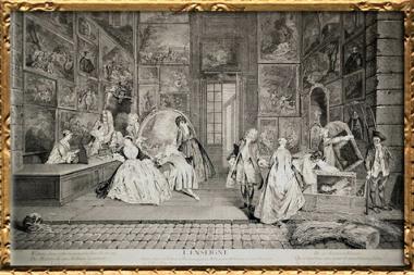 D'après L'Enseigne, galerie Gersaint, Antoine Watteau, graveur Pierre-Alexandre Aveline, 1732, XVIIIe siècle. (Marsailly/Blogostelle)