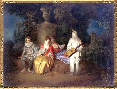 D'après La Partie carrée, Antoine Watteau, vers 1713, XVIIIe siècle, période Rocaille. (Marsailly/Blogostelle)