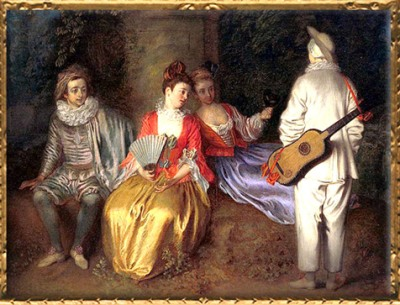 D'après La Partie carrée, détail, Antoine Watteau, vers 1713, XVIIIe siècle, période Rocaille. (Marsailly/Blogostelle)