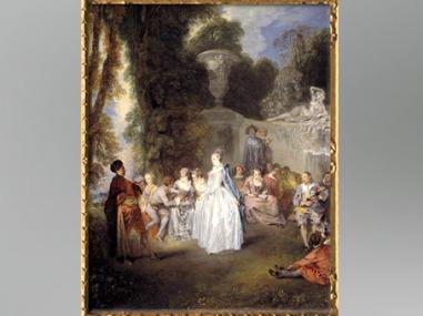 D'après Les Fêtes Vénitiennes, Antoine Watteau, 1718-1719, XVIIIe siècle, période Rocaille. (Marsailly/Blogostelle)