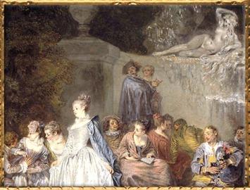 D'après Les Fêtes Vénitiennes, détail, Antoine Watteau, 1718-1719, XVIIIe siècle, période Rocaille. (Marsailly/Blogostelle)