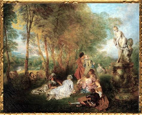 D'après Les plaisirs de l'Amour, Antoine Watteau, huile sur toile, vers 1718-1719, XVIIIe siècle, période Rocaille. (Marsailly/Blogostelle)