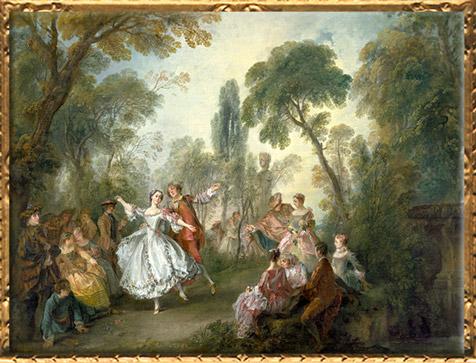 D'après LaFête Galante, avec la Camargo dansant, Nicolas Lancret, vers 1727-1728, huile sur toile, XVIIIe siècle apjc, période Rocaille, France. (Marsailly/Blogostelle)