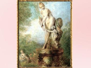 D'après Aphrodite, détail, D'après Les plaisirs de l'Amour, Antoine Watteau, huile sur toile, 1718-1719, XVIIIe siècle, période Rocaille. (Marsailly/Blogostelle)