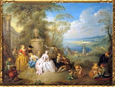 D'après La Fête galante, de Jean-Baptiste Pater, vers 1728, huile sur toile, XVIIIe siècle apjc, période Rocaille, France. (Marsailly/Blogostelle)