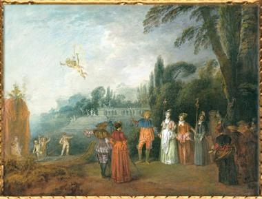 D'après Embarquement pour l'îlede Cythère, Antoine Watteau, huile sur toile, vers 1709-1710, XVIIIe siècle apjc, période Rocaille, Francfort. (Marsailly/Blogostelle)