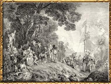 D'après Embarquement pour Cythère, Antoine Watteau, estampe du graveur Nicolas Henri Tardieu, 1733, XVIIIe siècle apjc. (Marsailly/Blogostelle)