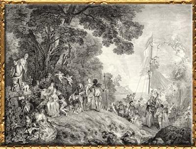 D'après Embarquement pour Cythère, Antoine Watteau, estampe du graveur Nicolas Henri Tardieu, 1733,XVIIIe siècle apjc. (Marsailly/Blogostelle)