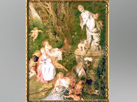 D'après la statue de Vénus, Embarquement pour Cythère, répétition d'Antoine Watteau, 1718-1719, château de Chartottenburg, Berlin, XVIIIe siècle, période Rocaille. (Marsailly/Blogostelle)