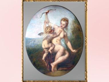 D'après Vénus désarmant l'Amour, Antoine Watteau, 1715, XVIIIe siècle, période Rocaille. (Marsailly/Blogostelle)