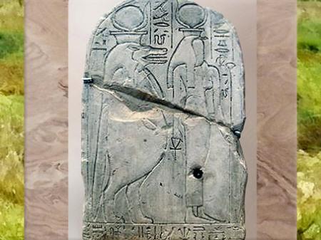D'après les déesses Touaret-Thouéris et Renenoutet-Thermouthis, stèle de Hay, calcaire, Deir el-Médineh, Thèbes, règne de Ramsès III, XXe dynastie, Nouvel Empire, Égypte Ancienne. (Marsailly/Blogostelle