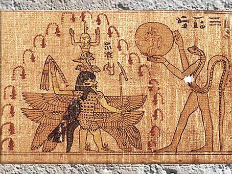 D'après le dieu Bès et Atoum-serpent, protecteurs du jeune Soleil ou fils du roi, et papyrus magique, vers 663-525 avjc, Basse Époque, Égypte ancienne. (Marsailly/Blogostelle)