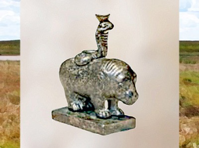 D'après l'hippopotame et le cobra, figurine en bronze, fin du Ier siècle- IIe siècle apjc, tombe d'un médecin, Bingen-am-Rhein, Allemagne, époque Romaine. (Marsailly/Blogostelle)