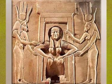 D'après Hathor-Thouéris, scène de parturiente, relief, temple d'Hathor, Dendéra,Époque Ptolémaïque, Égypte Ancienne. (Marsailly/Blogostelle)