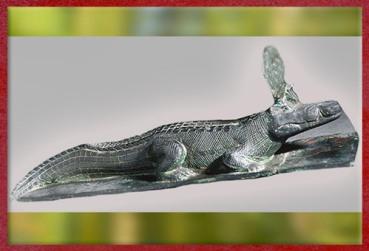 D'après le dieu crocodile Sobek coiffé du disque solaire, bronze, Basse Époque, Égypte Ancienne. (Marsailly/Blogostelle)