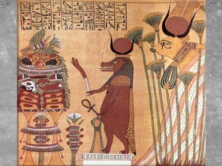 D'après la déesse Taouret-Thouéris devant une table d'offrandes, et Hathor, en déesse Vache céleste, tombe d'Ani, papyrus Livre des Morts, XIXe dynastie, Nouvel Empire, Égypte Ancienne. (Marsailly/Blogostelle)