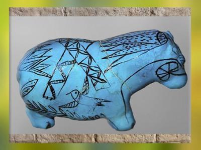 D'après un hippopotame, oiseau et plantes nilotiques, faïence bleue, vers 2033 - 1710 avjc, Moyen Empire, Égypte Ancienne. (Marsailly/Blogostelle)