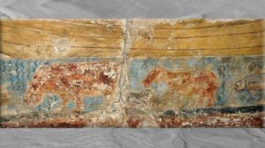 D'après des hippopotames dans le Nil, peinture sur calcaire, barque de pêcheurs, Ve- IVe dynasties, Ancien Empire, Égypte Ancienne. (Marsailly/Blogostelle)