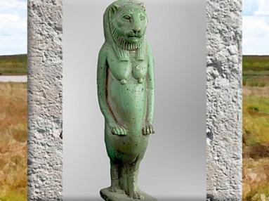 D'après la déesse Taouret-Thouéris, à tête de lionne, figurine, faïence siliceuse, vers IVe siècle avjc-30 avjc, , Basse Époque, Égypte ancienne. (Marsailly/Blogostelle)