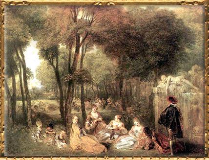 D'après Les Champs-Elysées, Antoine Watteau, vers 1717-1718, XVIIIe siècle, période Rocaille. (Marsailly/Blogostelle)