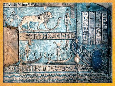 D'après le signe du Lion, salle hypostyle de Dendéra, vers 50 avjc, temple d'Hathor, époque Ptolémaïque, Égypte Ancienne. (Marsailly/Blogostelle)