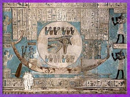 D'après la barque de la Lune, et les 14 déités du cycle Lunaire, vers 50 avjc, temple d'Hathor, Dendéra, époque Ptolémaïque, Égypte Ancienne. (Marsailly/Blogostelle)