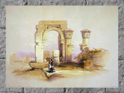 D'après les vestiges de l'Abaton, temple de Biggeh, David Roberts, gravure peinte, 1838, XIXe siècle, Égypte Ancienne. (Marsailly/Blogostelle)