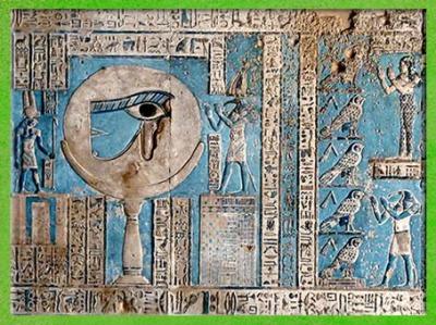 D'après la Pleine Lune-œil oudjat, et Thôt dieu Lune, vers 50 avjc, temple d'Hathor, Dendéra, époque Ptolémaïque, Égypte Ancienne. (Marsailly/Blogostelle)