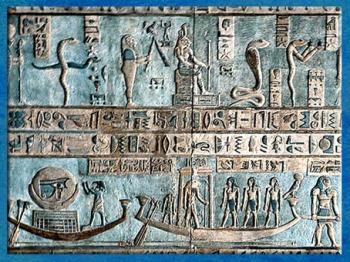 D'après la barque de la Pleine Lune et Thôt ibis, temple d'Hathor, Dendéra, époque Ptolémaïque, Égypte Ancienne. (Marsailly/Blogostelle)