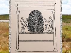 D'après l'arbre de Biggeh, dessin, porte d'Hadrien temple de Philae, XXXe dynastie-époque romaine, île d'Aguilkia, Assouan, Égypte Ancienne. (Marsailly/Blogostelle)