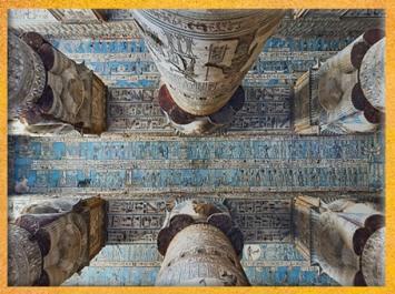D'après la salle hypostyle, temple d'Hathor, la course du Soleil, des planètes et des dieux, Dendéra, époque Ptolémaïque, Égypte Ancienne. (Marsailly/Blogostelle)