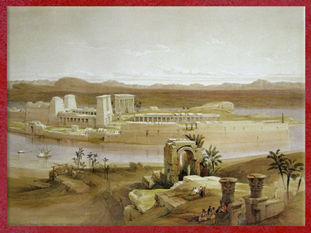 D'après Le Temple de Philae, de David Roberts, 1838 apjc, aquarelle, XIXe siècle, Égypte Ancienne. (Marsailly/Blogostelle)