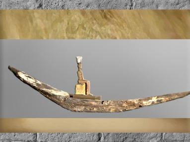 D'après la déesse Anouket-Anoukis, barque de procession, bois peint, vers 1250 avjc, XIXe dynastie, Nouvel Empire, Égypte Ancienne. (Marsailly/Blogostelle)
