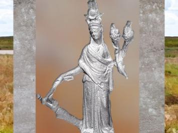 D'après la déesse Isis-Tyché, coiffe égyptienne, gouvernail et corne abondance, figurine bronze, IIe siècle apjc, Chypre, période Romaine. (Marsailly/Blogostelle)
