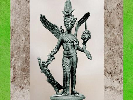 D'après la déesse Isis-Aphrodite-Tyché, statuette en bronze, Amrit, Syrie, époque Romaine. (Marsailly/Blogostelle)