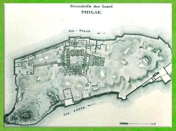 D'après un plan du sanctuaire de Philae, temple d'Isis, XIXe siècle, Égypte Ancienne. (Marsailly/Blogostelle)