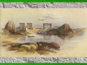 D'aprèsLe temple de Philae, de David Roberts, aquarelle, 1838 apjc, XIXe siècle, Égypte Ancienne. (Marsailly/Blogostelle)