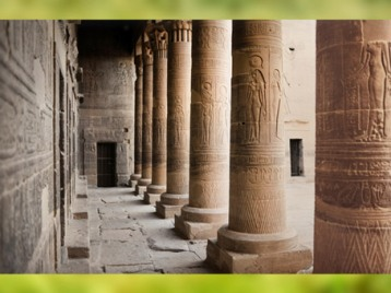 D'après le temple d'Isis, Philae, enfilade et colonnes, XXXe dynastie-époque romaine, Aguilkia, Assouan, Égypte Ancienne. (Marsailly/Blogostelle)