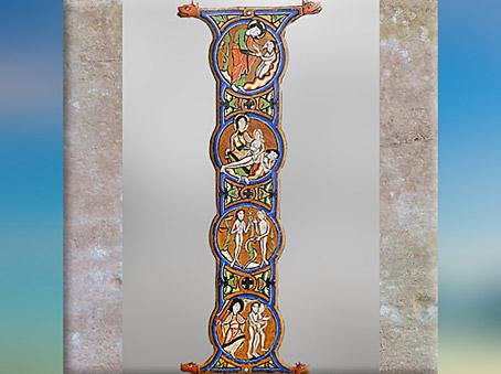 D'après La Genèse, bible enluminée ayant appartenu à Bernard de Clairvaux, XIIe siècle, style Roman, art Médiéval. (Marsailly/Blogostelle)
