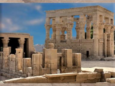 D'après le temple d'Hadrien et le kiosque de Trajan, Philae, époque romaine, Aguilkia, Assouan, Égypte Ancienne. (Marsailly/Blogostelle)