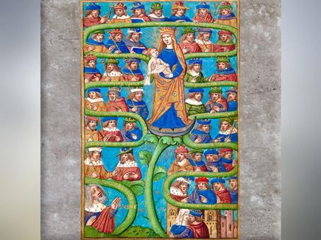 D'après la Vierge à l'Enfant au centre de l'arbre de Jessé, Les Heures de Charles VIII de France, Utopia, armarium codicum bibliophilorum, Cod. 111, XVe siècle, France. (Marsailly/Blogostelle)