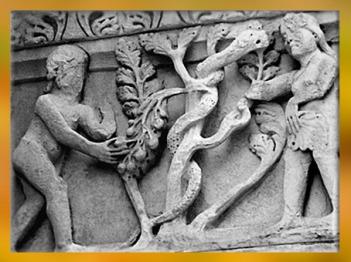 D'après Eve, Adam, le serpent et l'arbre du Paradis, Saint-Trophime, style Roman, XIIe siècle, Arles, art Médiéval. (Marsailly/Blogostelle)