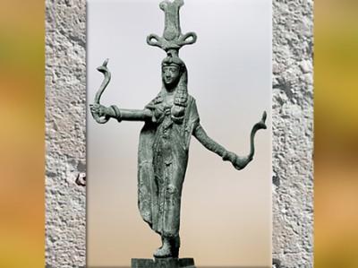 D'après la déesse Isis-Tyché et ses serpents, bronze, Ier siècle apjc, époque Ptolémaïque-Romaine, Égypte Ancienne. (Marsailly/Blogostelle)
