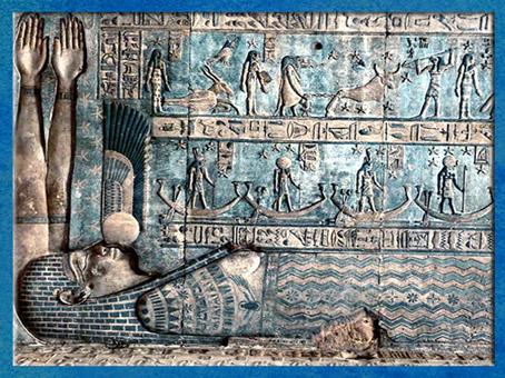 D'après la déesse Ciel Nout, avalant le Soleil, avant de lui redonner naissance le matin, temple d'Hathor, Dendéra, époque Ptolémaïque, Égypte Ancienne. (Marsailly/Blogostelle)